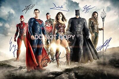 Justice League Reprint Signed Cast 12x18 Poster RP DC Comics Batman Wonder Woman