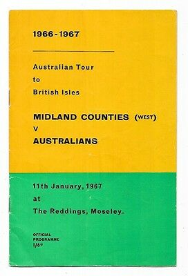 1967 - Midlands Counties West v Australia, Touring Match Programme.