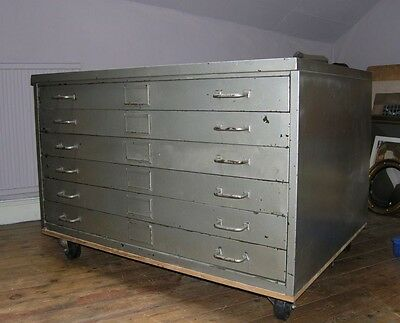 Vintage Industrial Large Metal Plan Chest Architects /Artists 6 Drawers Chest