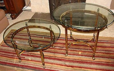 PAIR (2) Vintage Oval Brass & Glass Side or End Tables attr LaBarge Scroll Feet