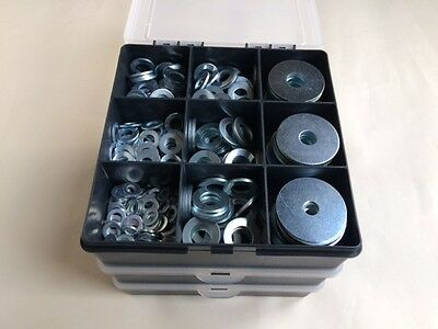 Flat Washers and Repair Washers Steel Washers Zinc Plated Assorted Box 425 pcs
