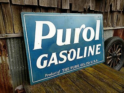 Original Purol Gasoline Porcelain Sign Pure Oil Gas Station Vintage DSP