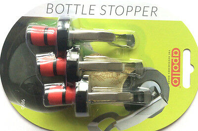 3 x Apollo Bottle Stopper Wine Champagne Beer Fizzy Drinks Bar Dining Kitchen