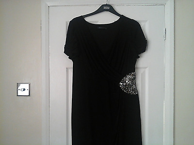 Stunning M&S collection black dress with sequin detail size 20
