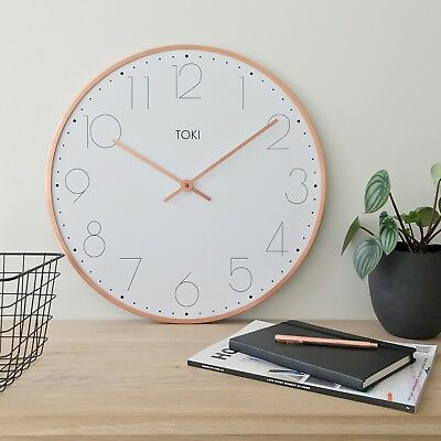 NEW Ola Rose Gold SILENT SWEEP Wall Clock 50cm by TOKI RRP $110 MASSIVE SPECIAL