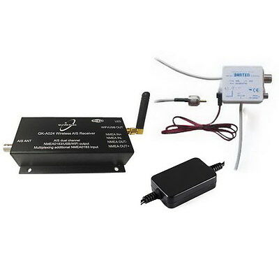 AIS Receiver with WiFi (QK-A024) + Antenna Splitter (Banten) + 12V PSU Combo