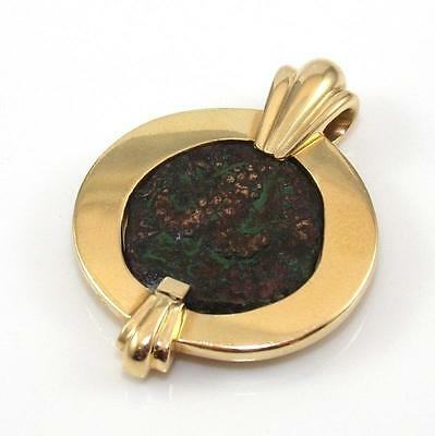 Solid Heavy 14K Yellow Gold Ancient Coin Charm Pendant 14.9 Grams LQ2-G
