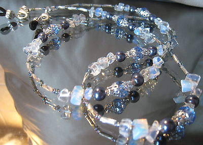 SPECTACLE/GLASSES/EYEWEAR BEADED CHAIN /HOLDER-  – Opaline & Silver (S119)