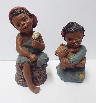 2 Holcombe 1980's Black Americana Children Figurines Prissy & Jerome God is Love