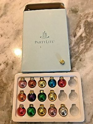 Partylite Replacement Glowing Tree Ornaments & Box  P7855 14 Balls