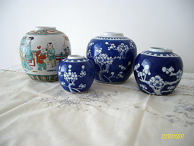 Chinese Prunus/ Blossom Porcelaine Ginger Jars -Kangxi? Concentric Circles