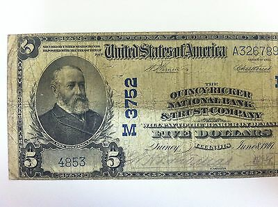 1902 $5 QUINCY-RICKER National Bank Note Bill Illinois IL