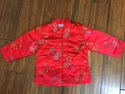 Children's Oriental Satin Embroidered Jacket, Red Asian, Loocy