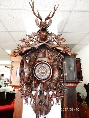 56 Inch case Top Rarity 1880 - 1900 Cuckoo Clock 3 Weights  music box 3 melodies