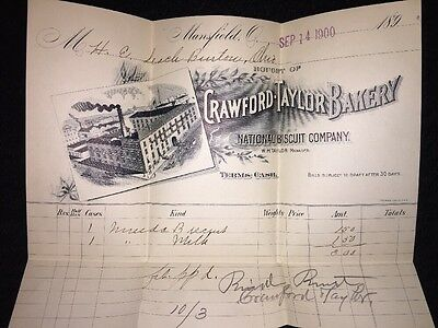 National Biscuit Co. - Crawford-Taylor Bakery  Invoice & Envelope - Sep 14, 1900