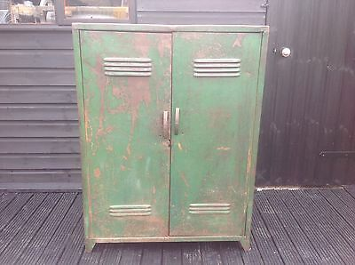 Vintage Industrial Metal Engineers Cabinet Locker With Vents Worn Patina