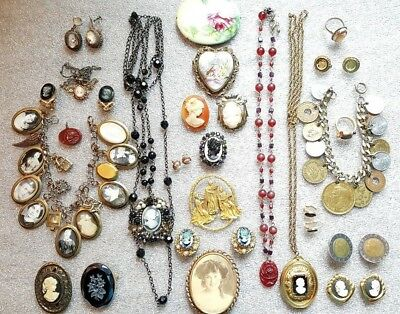 Lot of 27 Vintage Cameo, Coin Ring, Locket, Pins, Bracelet, Necklace & Earrings
