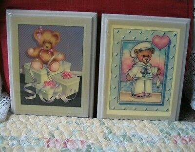 Vtg Nursery wall decor Picture Teddy Bear Set of 2 Baby Room Wood  Wall Art