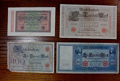 Lot of 4 German Reichsbanknotes, ca. 1905, 1910, 1923