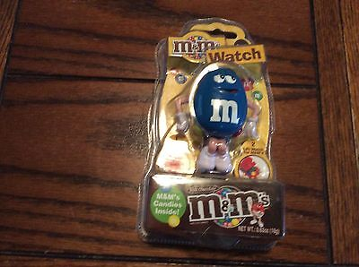 m&m collectible character blue guy new watch &dispenser mulicolor band