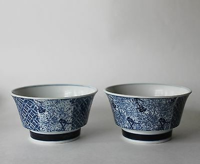 Chinese or Japanese Oriental Porcelain Blue & White Dish Bowl Floral 2 Pc