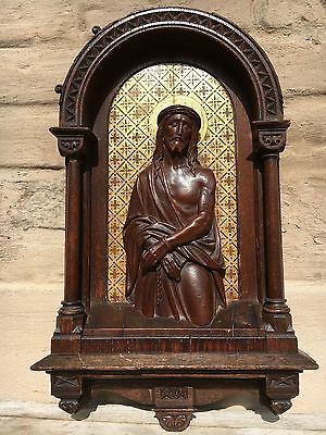 Stunning Gothic Shrine / chapel with Jesus in wood circa 1880 / ecce homo Christ
