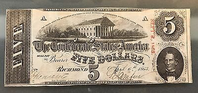 Confederate States $5 T-60 April 6th 1863 Plate A