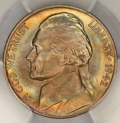 1942-D Jefferson Nickel PCGS MS65 Rainbow Rim Toned Colorful Toning! 7I