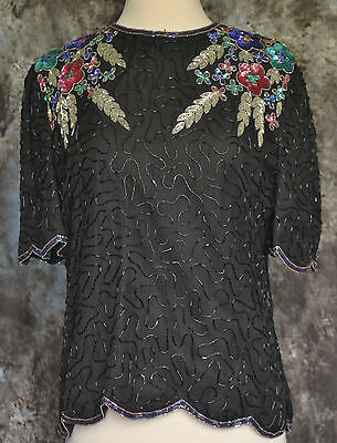 Vintage 80's Sequin/beaded Cocktail Silk Blouse By Laurence Kazar Size Ps