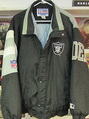 Lg MENS 1990's Vintage Oakland Raiders STARTER Jacket Zipper and Button NFL