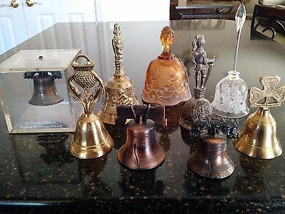 Large Lot Of 9 Collector Bells, Fenton, Crystal, Brass, Liberty, Knight, Clover+