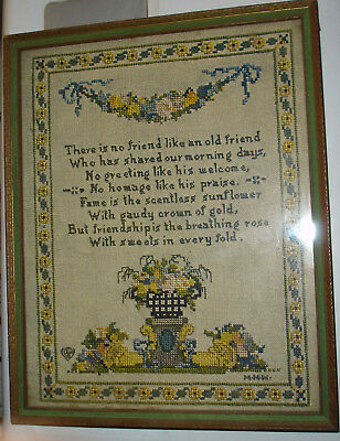 Vintage Needlepoint Sampler - There is no Friend Like an Old Friend - circa 1900