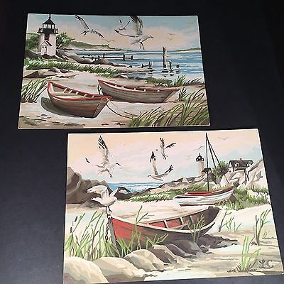 Pair of 2 Vintage 10 x 14 Paint by Number Boats & Lighthouses Mid Century PBN