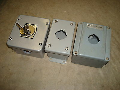 Lot Of 3 Small Push Button Enclosures One Is Allen Bradley Keys Keyed Key Square