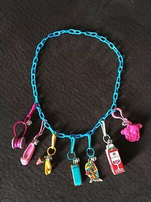 """Vintage 1980s Bell Charm Necklace. Cute Clip On Charms. 80s Retro Blue 22"""" Chain"""
