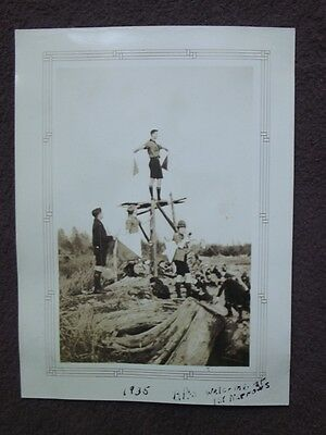 BOY SCOUT STANDING ON TOWER USING SIGNAL FLAGS Vintage 1935 PHOTO