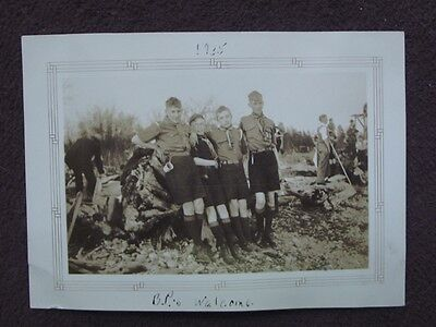 FOUR BOY SCOUTS IN UNIFORMS In SHORTS LEANING AGAINST TREE TRUNK Vtg 1935 PHOTO