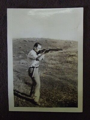 MAN FIRING RIFLE WITH ANTIQUE PISTOL IN HIS BELT Vtg 1930's PHOTO
