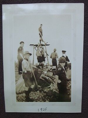 GROUP OF BOY SCOUTS BY SIGNAL TOWER, ONE ON TOWER Vtg 1935 PHOTO