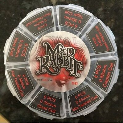 Mad Rabbit Kanthal Coil Wheel -48 Assorted Coils (Alien, Clapton, Fused, Twisted