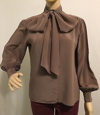Vintage Christian Dior Brown Pussy Bow Tie Silk Blouse Top Womens Size 6 Small S