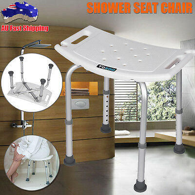 Aluminium Adjustable Bath / Shower Seat Chair Stool Bench White Shower Aid Tool
