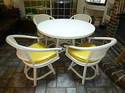 Ficks Reed Mid Modern Lacquered Rattan Dinning Table And Swivel Chairs