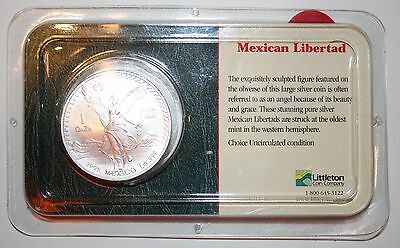 1995 Mexican Libertad 1oz .999 Fine Silver in Littleton Show Pack Uncirculated