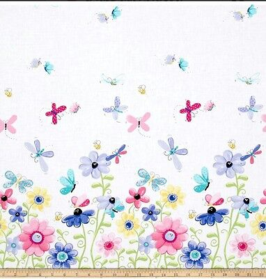 Susybee Flutter The Butterfly Double Border Fabric * New * Free Post * Pretty *
