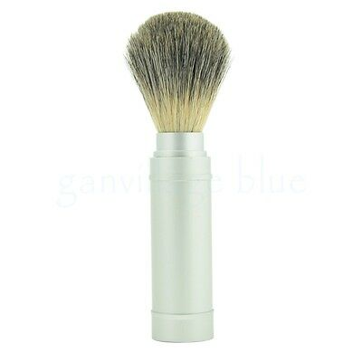 Removable Pure Badger Hair Shaving Brush Travel Portable Aluminum Metal Handle