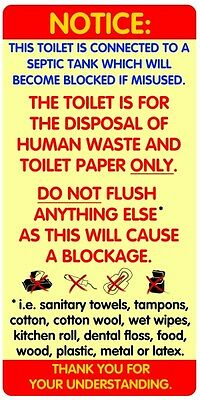 2x WATERPROOF Notices / Sticker Signs for Septic Tank Toilets and Bathrooms