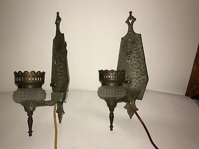Pair Antique early 1900s Gothic Cast Metal WALL SCONCES Hammered Amazing Detail