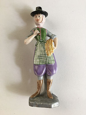 Vintage Vista Alegre Women With Basket Of Hay Porcelain Figurine