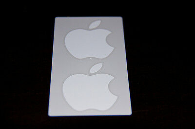 NEW Genuine OEM Authentic White Apple Logo Decal Sticker 2 Total Stickers